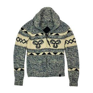 TNA Classic Lambswool Zip Up Knit Sweater